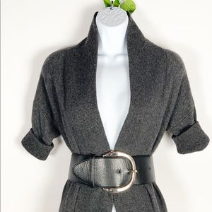WHBM - Oversized Black Leather Belt -Silver Buckle